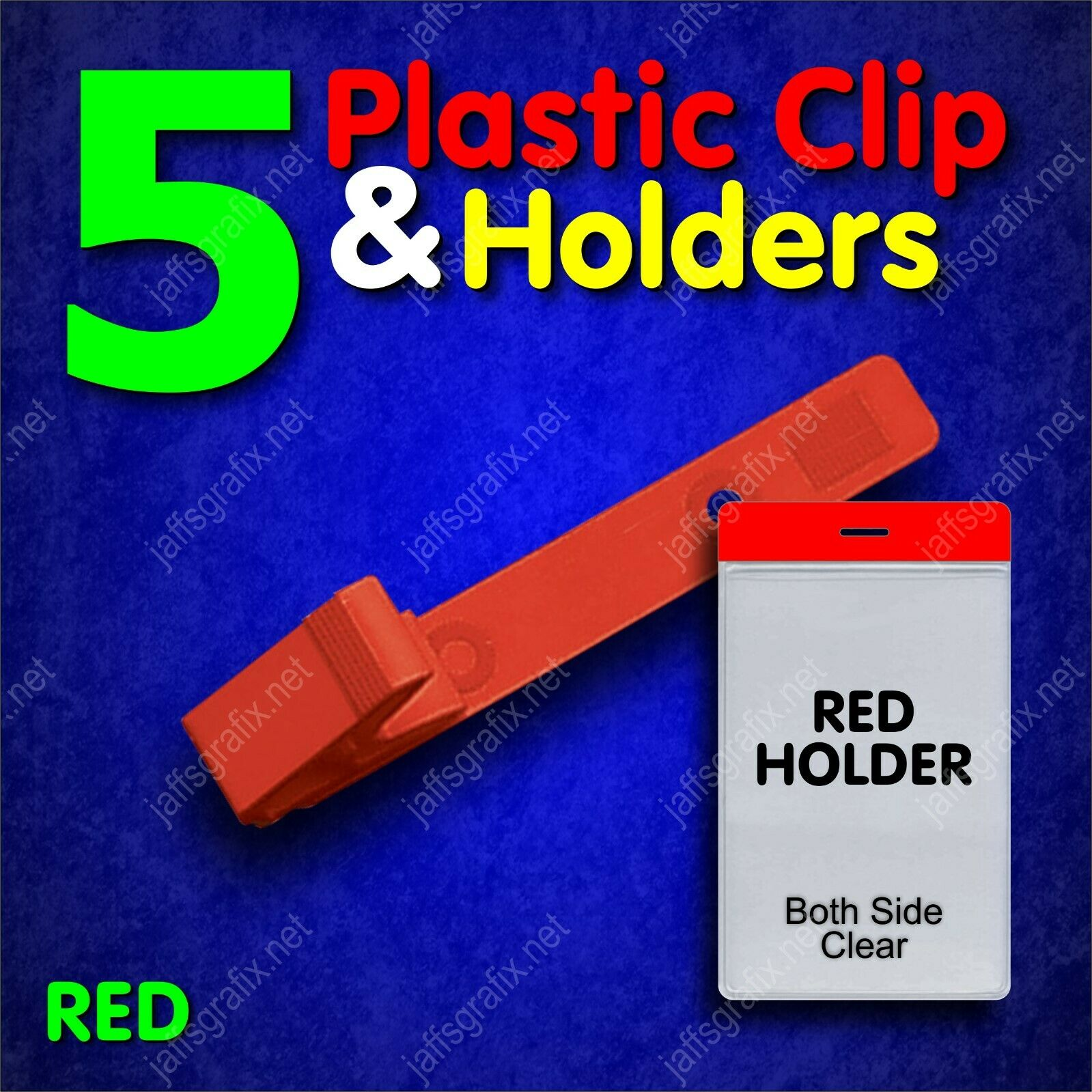 Color Plastic ID Badge Holder Clip with Red Holder VERTICAL