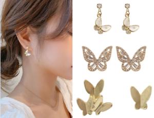925-Silver-Elegant-Butterfly-Earring-Ear-Stud-Women-Girls-039-Jewelry-A-pair-Set-UK