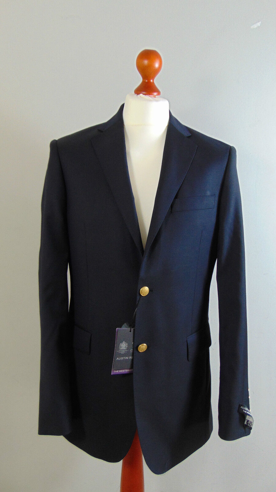 Austin Reed Mens Navy Admirals Sailors Single Breasted Suit Blazer Jacket 40l For Sale Online Ebay