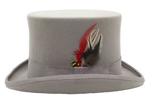 8aaec2f91bbde5 GENTLEMAN 100% WOOL HIGH QUALITY GREY WEDDING TOP HAT WITH SATIN LINING  Bowler Hats
