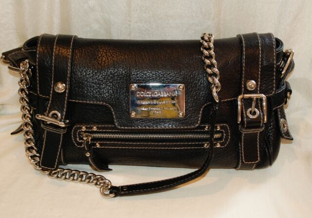 278bb91ea0 Dolce Gabbana Miss Easy Way Black Pebble Leather Shoulder Hand Bag Satchel  Purse
