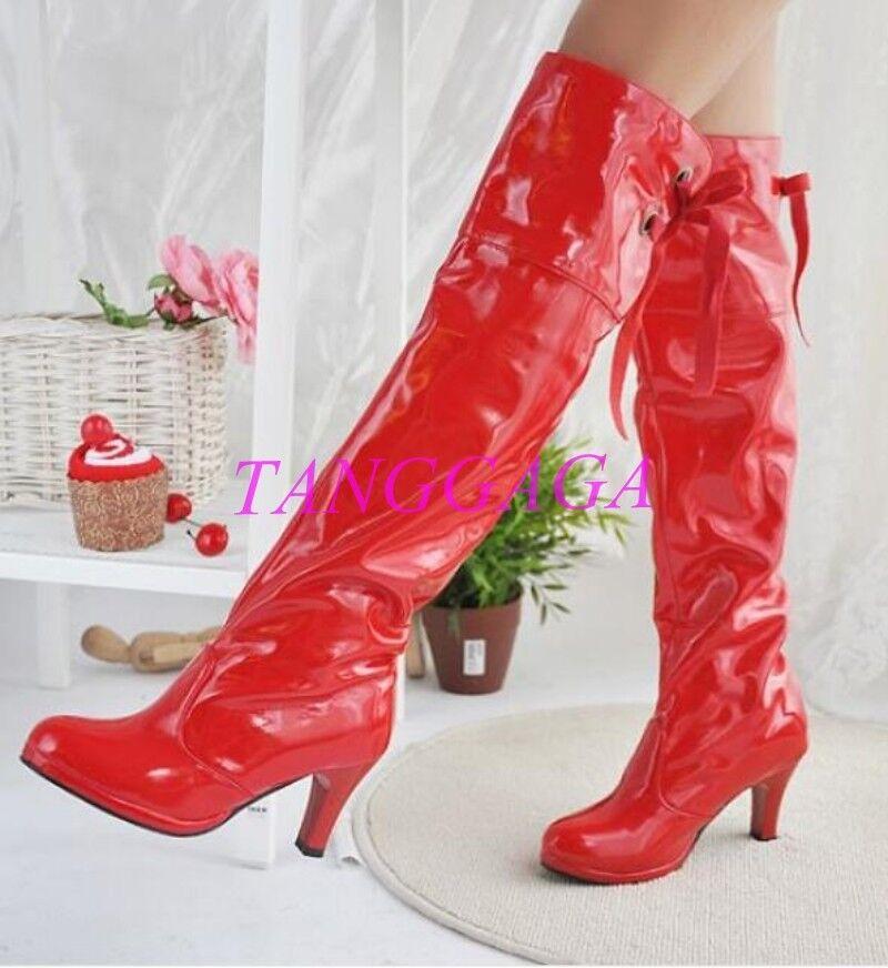 Chaussures Femme Cuir Verni bottes cuissardes Mi Talon Clubwear Taille Plus chaussures NOUVEAU
