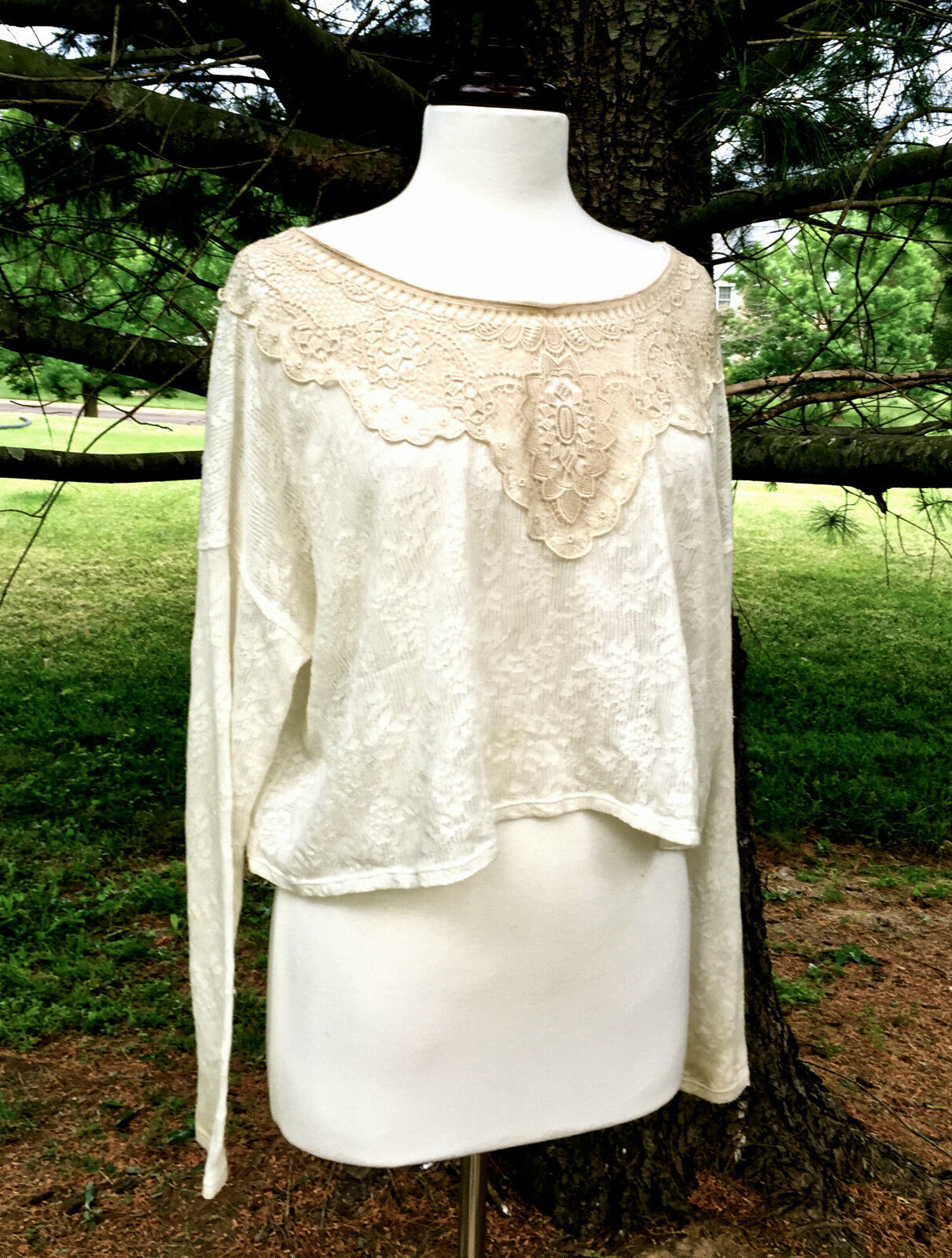 NEW Free People ivory lace crochet overGröße Candy Lace Delicate Crop Top M   L