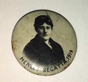 Rare-Antique-Australian-Henley-Regatta-Suffragette-Pinback-Button-Race-C-1919