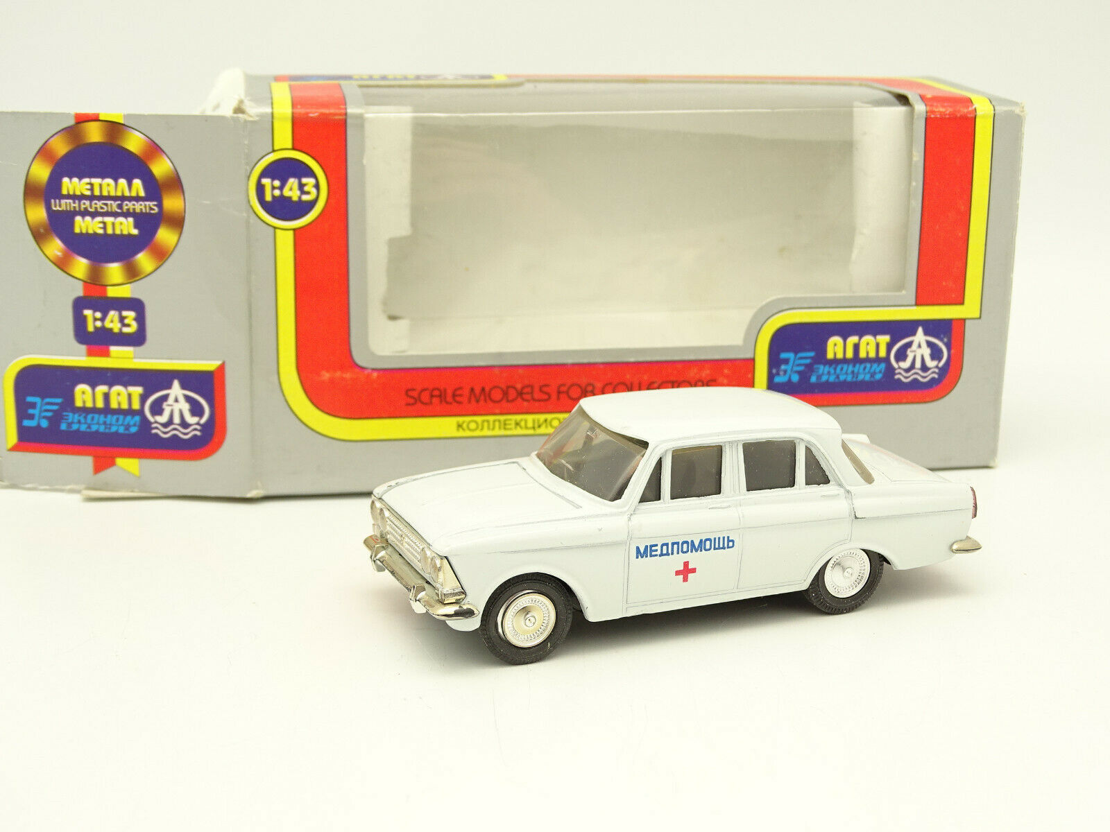 Agat russia 1 43 - moskvitch 408 ambulance red cross