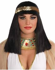 Egyptian Costume Black Cleopatra Wig With Gold Headband