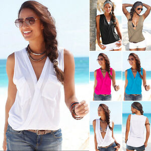 9fad0e6eb2b5a Womens Ladies Sleeveless Blouse 2 Pockets V Neck Wrap Front T Shirt ...
