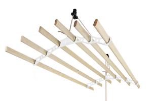 Tendedero de Techo con Sistema de Polea y 6 Listones de 1,8m en blancoo