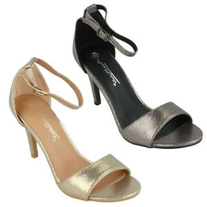 c8e4381fd1e Details about ANNE MICHELLE LADIES OPEN TOE HIGH HEEL GOLD PEWTER EVENING  SANDALS F6R030