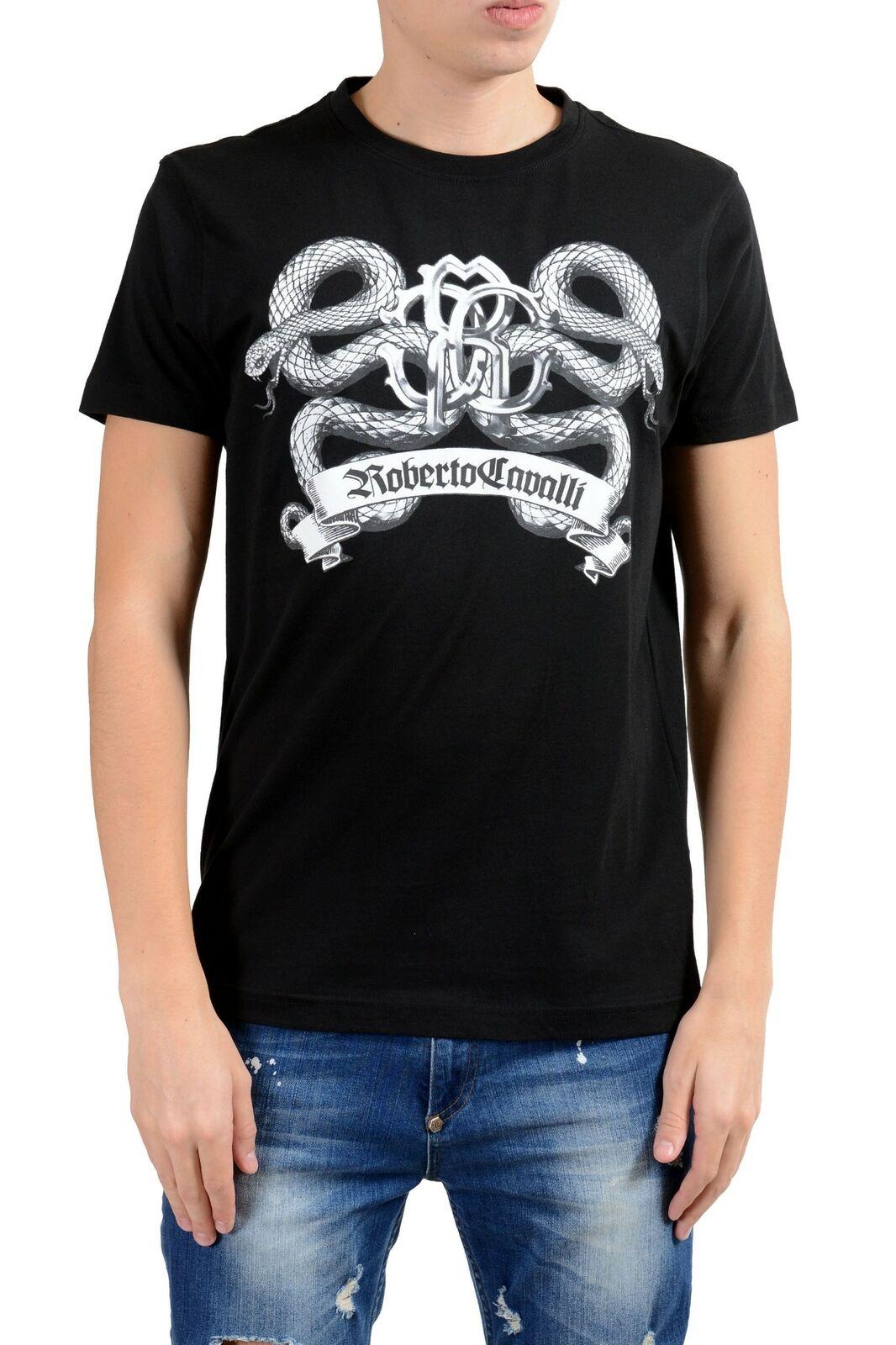 Roberto Cavalli Herren Schwarz Grafik Rundhalsausschnitt T-Shirt GRÖSSE S L XL    Am wirtschaftlichsten