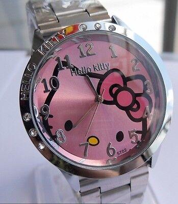 Reloj Hello Kitty watch en acero. Steel case watch A2086 Fondo Rosa
