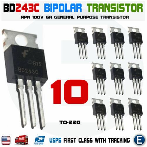 10PCS BD243C 6A 100V Bipolar Transistor General Purpose TO-220 NPN