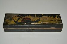 Antique Vintage Aged Italian Gondola Venice Wooden Dove Tail Jewelry Box Rare