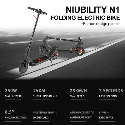 "Niubility N1 Falten Elektroroller 8.5/"" 250W 7.8A Scheibenbremse E-Scooter 25km//h"