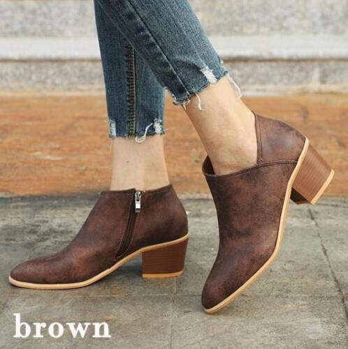 New Women Ladies Wood Grain Heel Irregular Booties Zipper Ankle Boots Shoes Size