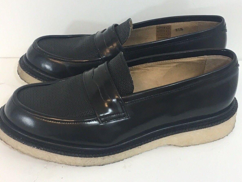 Adieu Paris Black Loafer Women 37.5, 6.5 Crepe Sole Black Penny Loafer Very Nice