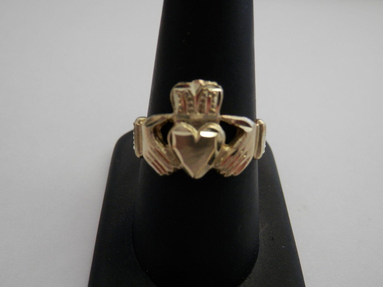 14 KARAT SOLID YELLOW gold IRISH CLADDAGH RING