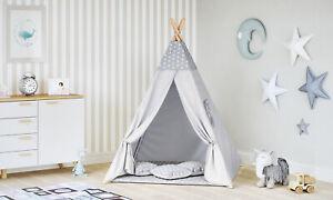 Tipi Zelt Kinder Spielzelt Baumwolle 3 Kissen Kinderzelt drinnen draußen 8702