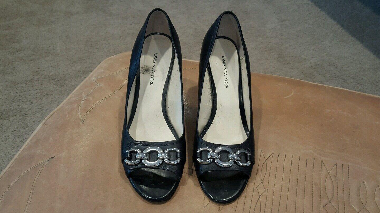 Jones of New York Size Womens Black Leather Peep Toeheels Size York 7.5 a9a82f