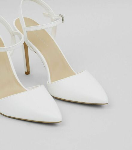 WOMENS NEW LOOK PLUS SIZE 9 42 WHITE BRIDAL OCCASION HIGH HEEL FRONT STRAP SHOES