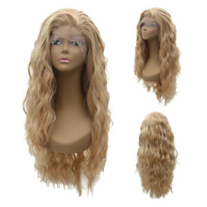 Women-Cool-Blonde-Long-Full-Wavy-Front-Lace-Wigs-Curly-Natural-Hair-Cosplay-NE