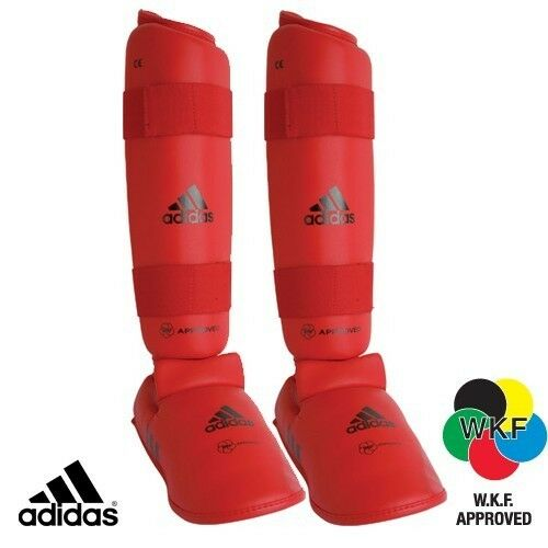 Adidas WKF Shin and Removable Instep Pads Red Karate Shin Pads Leg Guards