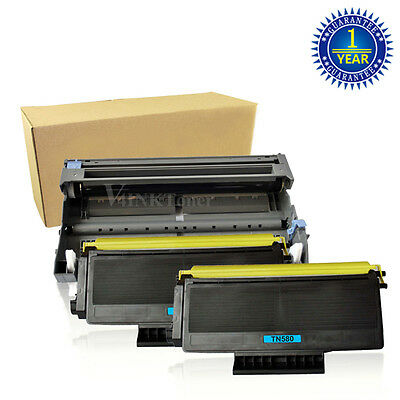 2x TN580 Toner+ DR520 Drum For Brother HL-5240 5270DN MFC-8460N 8660DN DCP-8060