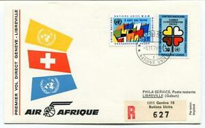 Candide Ffc 1973 Air Afrique First Direct Flight Geneve Libreville Gabun Registered Onu
