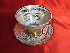 Tasse déjeuner trembleuse porcelaine LIMOGES  blanche rinceaux dorés peint main