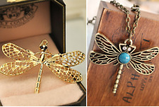 Combo Gold Plated + Antique Bronze Crystal Eye Dragonfly Pendant Necklace Chain