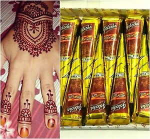 10 X Red Maroon Henna Indian Arabic Mehndi Temporary Tattoo Cones