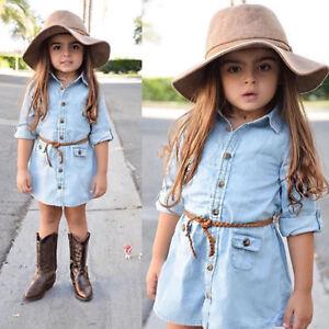 100f7d7d104 AU Kids Girl Denim Jeans Dress Button Pocket Losse Casual Top Shirt ...