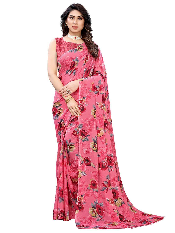 Pink Floral Printed Bollywood Saree Party Wear Designer Sari L161 U1