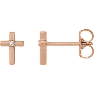 Diamond-Solitaire-Cross-Earrings-In-14K-Rose-Gold