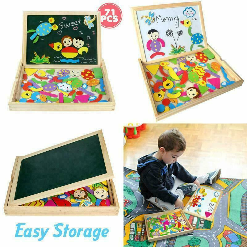 Easel Educational Toys Wooden Magnetic Drawing Board Jigsaw Puzzles Montessori 2