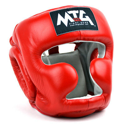 Adults Sandee Open Face Red /& White Leather Head Guard Muay-Thai Boxing
