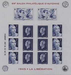 BLOC-FEUILLET-F4986-NEUF-XX-SOUS-BLISTER-70-ANS-DE-LA-LIBERATION-14-TIMBRES