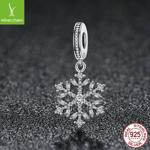 Hot Sale 925 Sterling Silver Sparking CZ Snowflake Dangle Charm Fit Women Chain