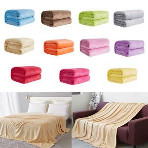 Super-suave-solido-Color-Gruesos-Calido-Franela-Manta-Sofa-Dormitorio-Tirar-Alfombra-Hea