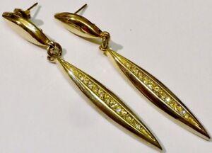 Fines Boucles D'oreilles Percées Couleur Or Bijou Vintage Tombantes Cristal 1777