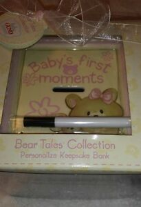 Gund Baby Bear Tales Collection Personalized Keepsake Bank Pink 58682