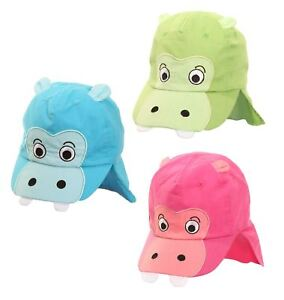 99eef116608 Image is loading Kids-hippo-hat-sun-holiday-beach-legionnaire-neck-