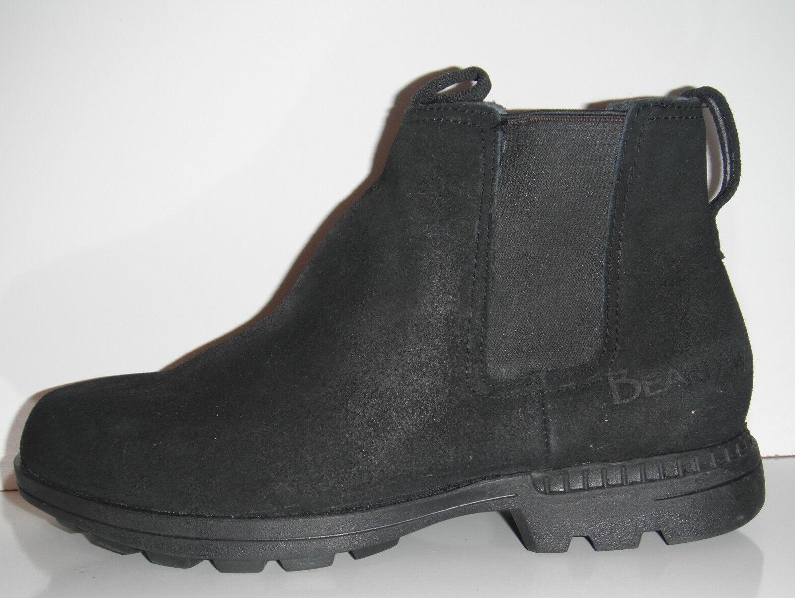 New Bearpaw Larkin II Black Pressed Suede Sheepskin Winter Footbed Boot sz 12M