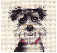 MINIATURE SCHNAUZER dog, puppy ~ Complete counted cross stitch kit