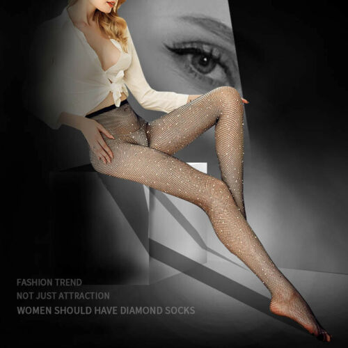Fashion Rhinestone Fishnet Socks Stockings Mesh Net Pantyhose Tights Glitter