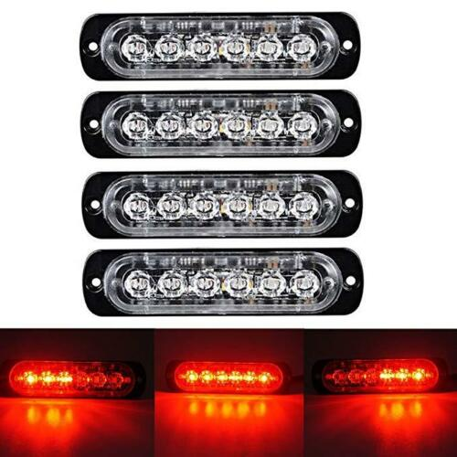 4x 6LED Emergency Beacon Warning Hazard Flash Strobe Light Bar Flash sync Red