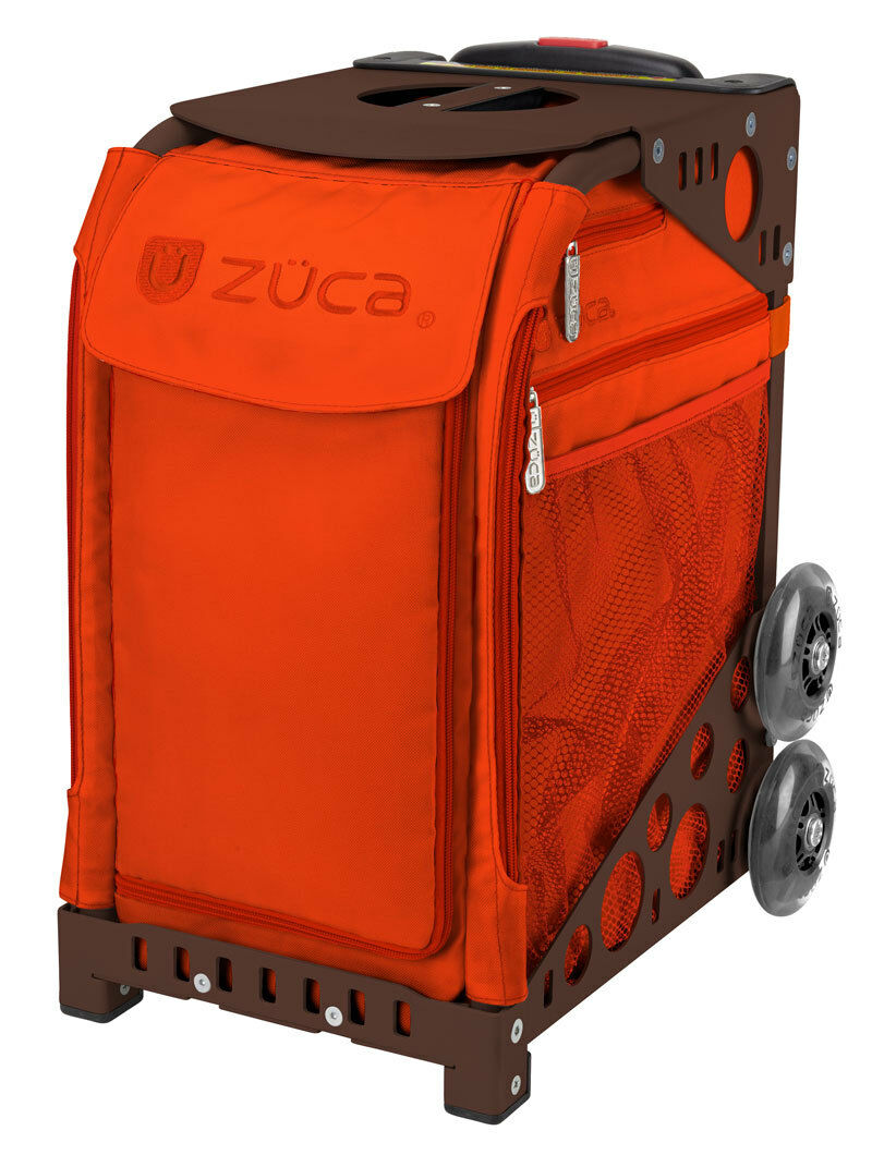 ZUCA Bag PERSIMMON Insert & Brown Frame w  Flashing Wheels -FREE SEAT CUSHION