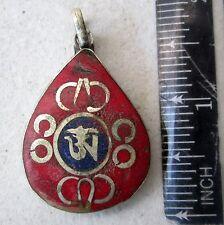 Vintage Tibet Tibetan Buddhist Silver, & Red Coral Amulet Eternal Om