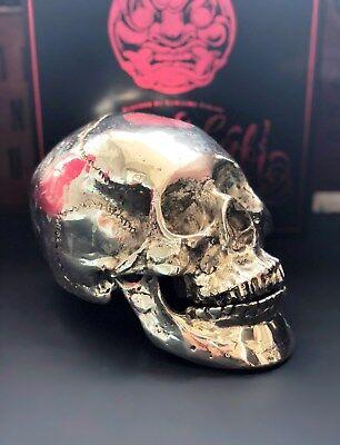"""ZuverläSsig """"neu"""" Totenkopf Skulptur, Skull, Bronze, Versilbert, Top Dekoration"""