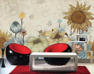 3D Graffiti Sunflower Garden Paper Wall Print Wall Decal Wall Deco Indoor Murals